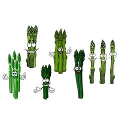 Cartoon bundles of green asparagus vegetables vector image