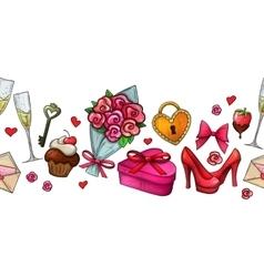 Colorful sketch valentine horizontal border vector image vector image