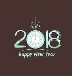 happy new year 2018 - old vintage clock vector image