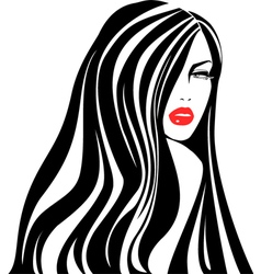 Vintage woman face Fashion and Hair icon vector image vector image