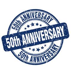 50th anniversary blue grunge stamp vector