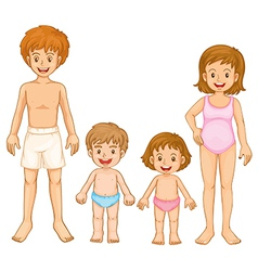 A family in their swimming attire vector image vector image