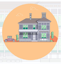 houses and car lineart minimal vector image