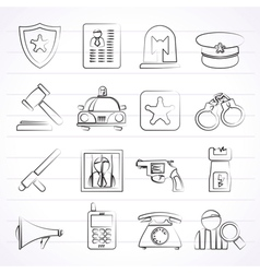 police law and security icons vector image vector image