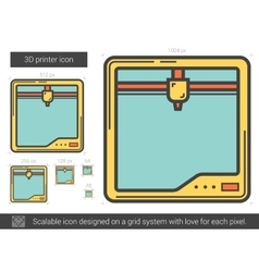 Three D printer line icon vector image vector image