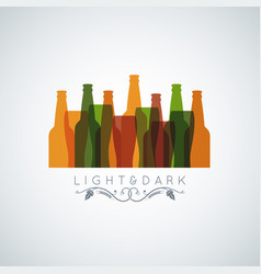 beer bottle glass logo banner design background vector image