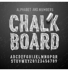 Chalk alphabet letters and numbers vector image vector image