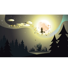 Flying Witch in the Woods2 vector image