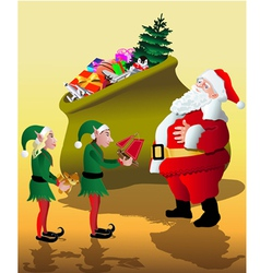 Santa with elves vector image vector image