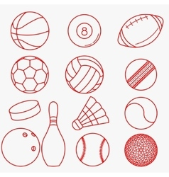 Sport balls red thin line design vector
