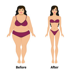 Woman before and after weight loss vector