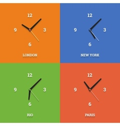 World time clocks in flat style on color squares vector image