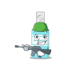A charming army antiseptic having a machine gun vector