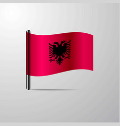 Albania waving shiny flag design vector