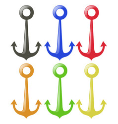 anchor in six different colors vector image