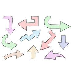 Arrows colored hand drawn sketch vector
