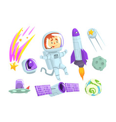 astronauts in space set for label design cosmos vector image
