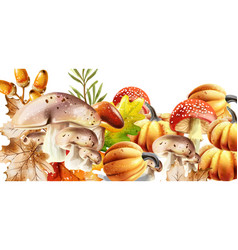 Autumn harvest pattern fall muchrooms and fruits vector