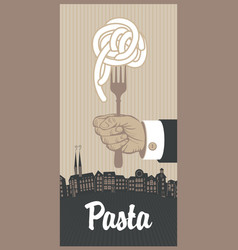 banner with italian pasta on fork in a hand vector image vector image