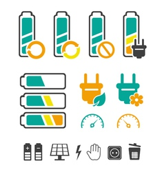 Battery recycling pictograms set vector image