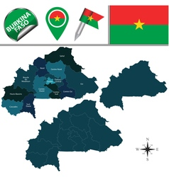 Burkina Faso map with named divisions vector image