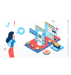 businesswoman working with isometric abstract vector image