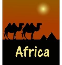 Camel in egyptian desert stencil vector