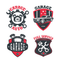 Car service or repair station logo garage signs vector