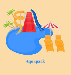 cartoon family water park with slides pool vector image