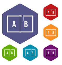 children abc icons set hexagon vector image