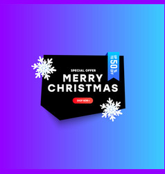 christmas polygonal discount banner with text vector image