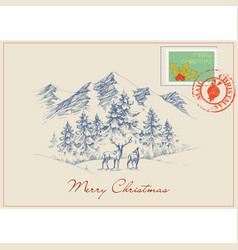 christmas postcard in vintage style winter scene vector image