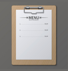 Classic restaurant menu on paper sheet in vector
