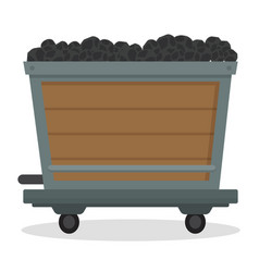 coal trolley mining mineral resource wooden cart vector image