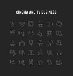 collection linear icons cinema and tv business vector image