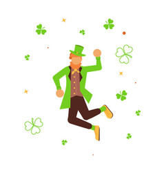 Cute cartoon leprechaun dancing vector