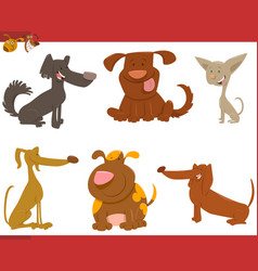 cute dogs cartoon characters vector image