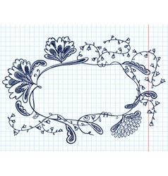 Cute doodle floral abstract frame vector