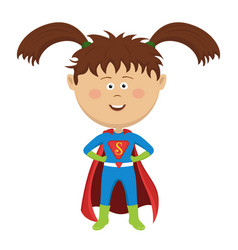 Cute funny little girl wearing superhero costume vector