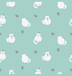cute kitty seamless pattern white cats vector image