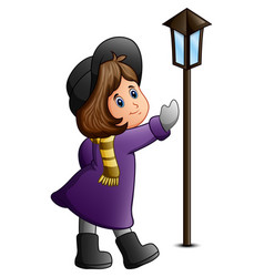 cute little girl with lamppost vector image