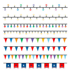 different patterns lights and flags vector image