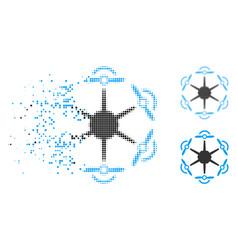 Disintegrating pixelated halftone flying vector