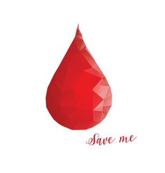 donation concept blood drop in low poly style vector image