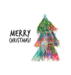 doodle christmas tree for your design vector image