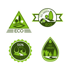 Eco green and nature protection icons vector