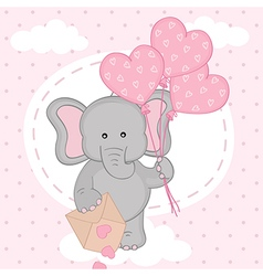 Elephant with balloons on cloud vector