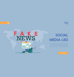 Fake news concept for landing page template man vector