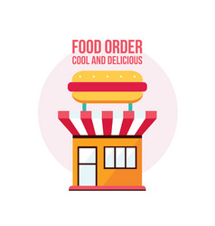 fast food shop facade with hot dog icon vector image