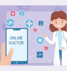 Female doctor online smartphone health care covid vector
